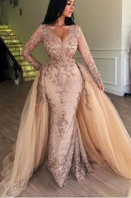 Elegant V-Neck Long Sleeves  Prom Dress |  Mermaid Applqiues Evening Dress with Detachable Skirt_1