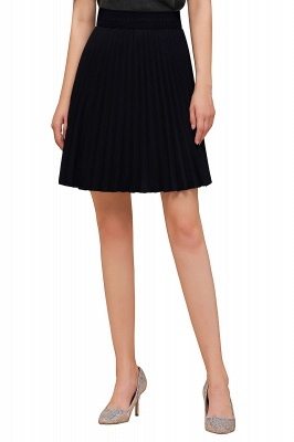 A-line Knitted Knee Length Pleated Skirt_106