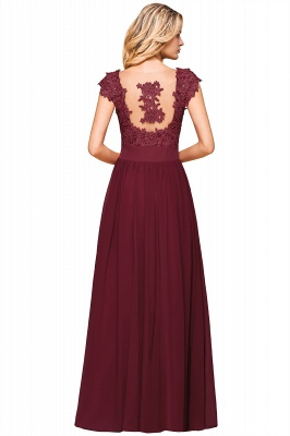 Cap Sleeve Scoop Lace Beading Floor Length Formal Evening Dresses | A Line Chiffon Sexy Prom Dresses_15