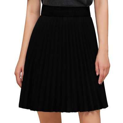 A-line Knitted Knee Length Pleated Skirt_16