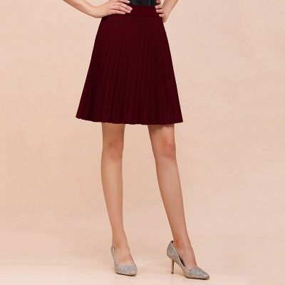 A-line Knitted Knee Length Pleated Skirt_48