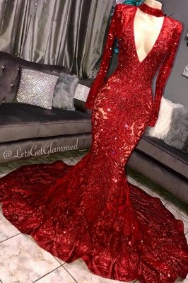 Glamorous Mermaid Long Sleeves Deep V-neck Lace Applique Long Prom Dress_1