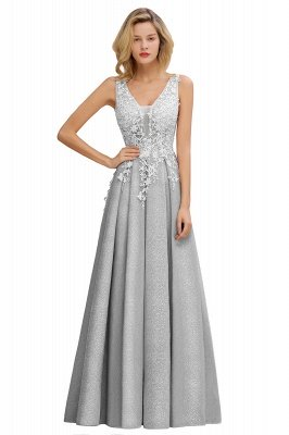 Elegant Sleeveless V-neck Floor Length Appliques Prom Dresses | Cheap Backless Evening Dresses_6