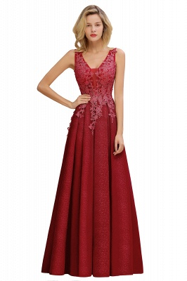 Elegant Sleeveless V-neck Floor Length Appliques Prom Dresses | Cheap Backless Evening Dresses_2