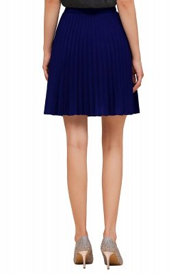 A-line Knitted Knee Length Pleated Skirt_105