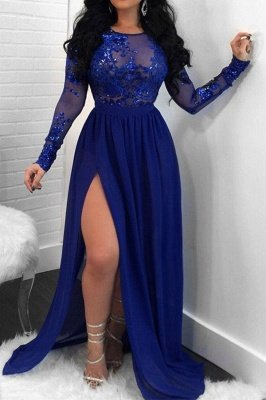 Sexy Open Back Long Sleeves Prom Dresses | Side Slit Scoop Evening Dresses_2