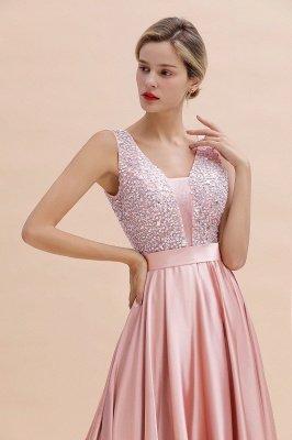 Pink Straps V Neck Beading Crystals A Line Floor Length Ruffles Prom Dresses | Backless Sash Evening Dresses_10