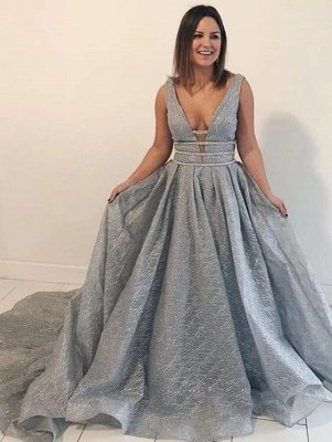 Straps Deep V Neck Sleeveless Sequined Mermaid Prom Dresses | Sexy Backless Evening Gown_4