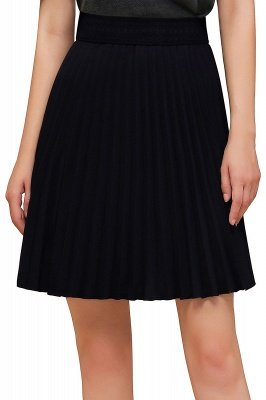 A-line Knitted Knee Length Pleated Skirt_125