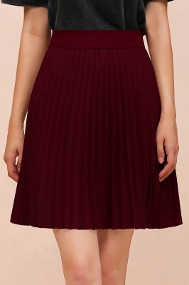 A-line Knitted Knee Length Pleated Skirt_153