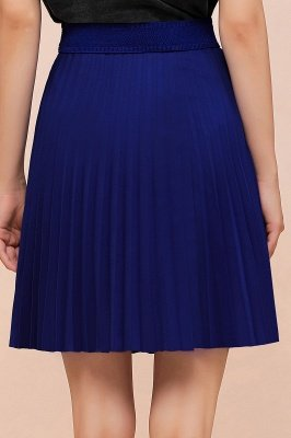 A-line Knitted Knee Length Pleated Skirt_163