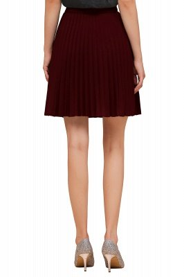 A-line Knitted Knee Length Pleated Skirt_111