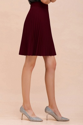 A-line Knitted Knee Length Pleated Skirt_145