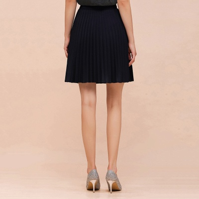 A-line Knitted Knee Length Pleated Skirt_29