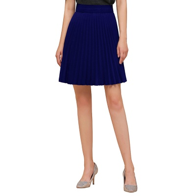 A-line Knitted Knee Length Pleated Skirt_30