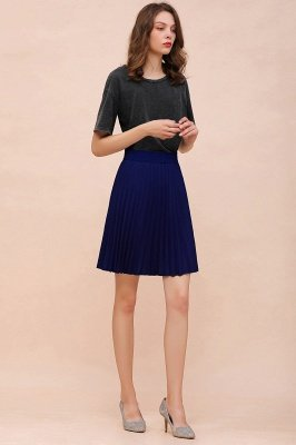 A-line Knitted Knee Length Pleated Skirt_159