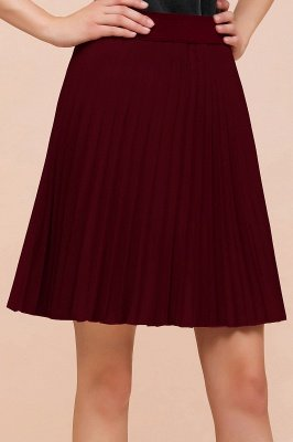 A-line Knitted Knee Length Pleated Skirt_150
