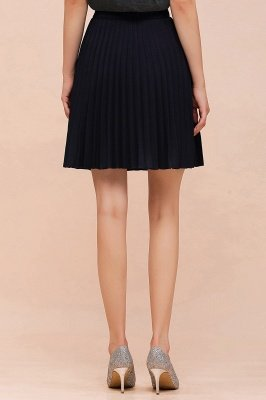 A-line Knitted Knee Length Pleated Skirt_103