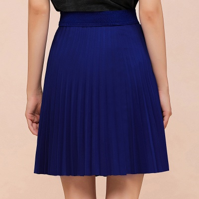 A-line Knitted Knee Length Pleated Skirt_69
