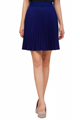 A-line Knitted Knee Length Pleated Skirt_84