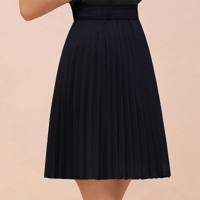 A-line Knitted Knee Length Pleated Skirt_5