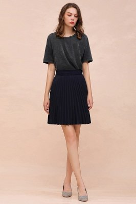 A-line Knitted Knee Length Pleated Skirt_101