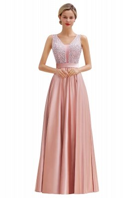 Pink Straps V Neck Beading Crystals A Line Floor Length Ruffles Prom Dresses | Backless Sash Evening Dresses_17