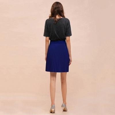 A-line Knitted Knee Length Pleated Skirt_80
