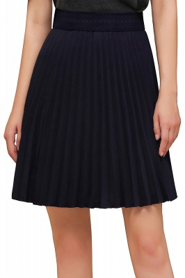 A-line Knitted Knee Length Pleated Skirt_114