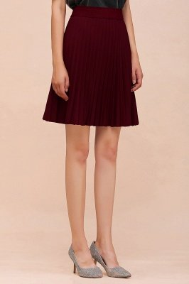 A-line Knitted Knee Length Pleated Skirt_141