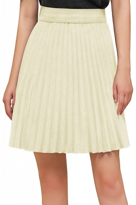 A-line Knitted Knee Length Pleated Skirt_133