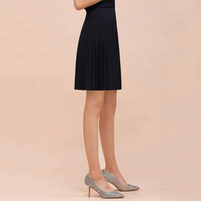 A-line Knitted Knee Length Pleated Skirt_38