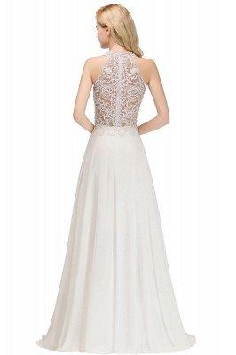 Halter Full Back Applique Beaded Pearls Chiffon A Line Prom Dresses_10