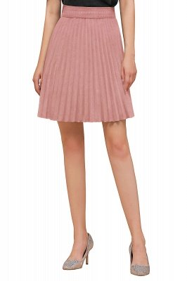 A-line Knitted Knee Length Pleated Skirt_112
