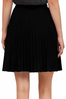 A-line Knitted Knee Length Pleated Skirt_129