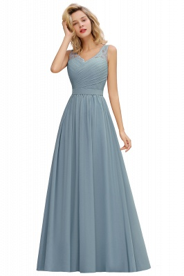 Simple V-neck Sleeveless Long Prom Dresses with soft Pleats_5