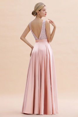 Pink Straps V Neck Beading Crystals A Line Floor Length Ruffles Prom Dresses | Backless Sash Evening Dresses_11