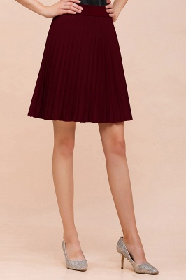 A-line Knitted Knee Length Pleated Skirt_142