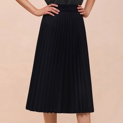 A-line Knitted Short Pleated Skirt_15