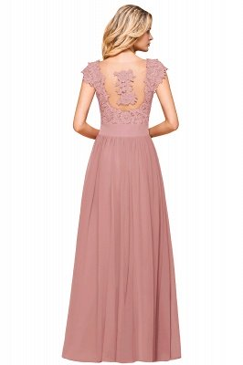 Cap Sleeve Scoop Lace Beading Floor Length Formal Evening Dresses | A Line Chiffon Sexy Prom Dresses_18