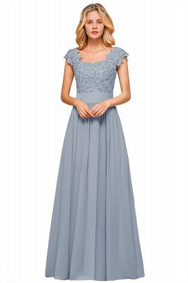 Cap Sleeve Scoop Lace Beading Floor Length Formal Evening Dresses | A Line Chiffon Sexy Prom Dresses_5