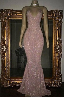 Shiny Blushing Pink Prom Dresses Sequins V-Neck Sleeveless Mermaid Evening Gowns_2