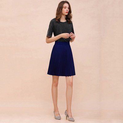 A-line Knitted Knee Length Pleated Skirt_79
