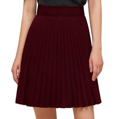 A-line Knitted Knee Length Pleated Skirt_17