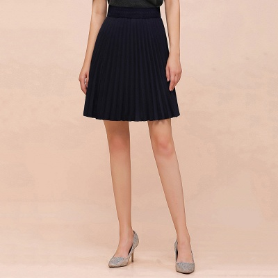 A-line Knitted Knee Length Pleated Skirt_21
