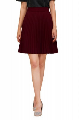 A-line Knitted Knee Length Pleated Skirt_138