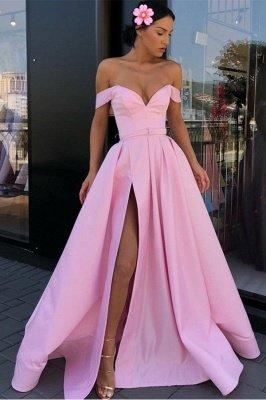 Sexy Pink Off-The-Shoulder Evening Dresses 2019 | A-Line Front Split Long Formal Dresses Online_2