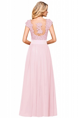 Cap Sleeve Scoop Lace Beading Floor Length Formal Evening Dresses | A Line Chiffon Sexy Prom Dresses_24
