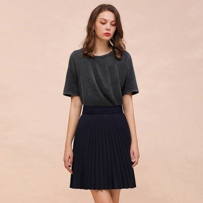 A-line Knitted Knee Length Pleated Skirt_11