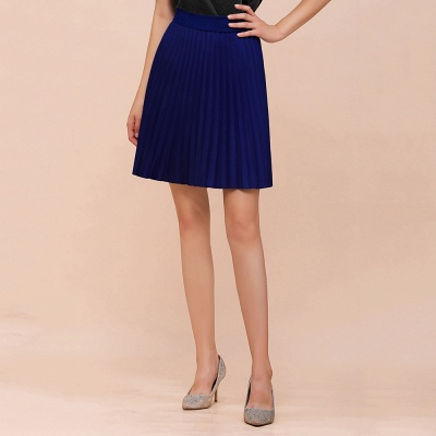 A-line Knitted Knee Length Pleated Skirt_67
